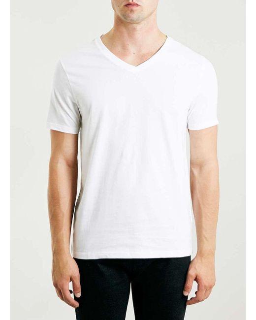 Topman | White Slim Fit V-neck T-shirt for Men | Lyst