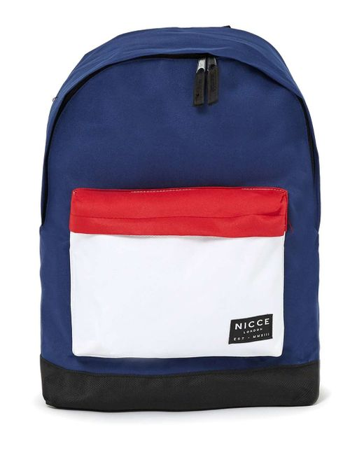 Nicce london Navy, Red And White Backpack in Blue for Men