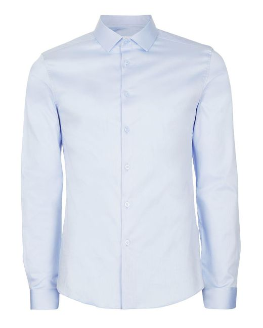 Topman - Light Blue Premium Satin Touch Smart Long Sleeve Shirt for Men - Lyst