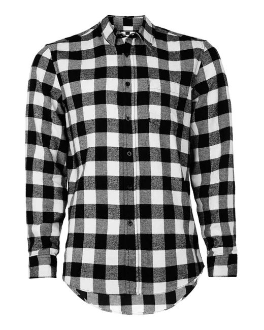 Topman Black And White Buffalo Check Casual Shirt In Black