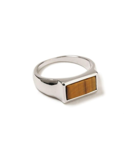 Topman - Brown Silver Stone Ring for Men - Lyst