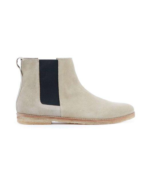 topman beige and black suede chelsea boots in beige brown