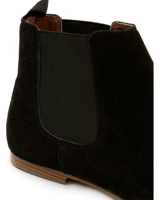 topman black faux suede chelsea boots in beige for