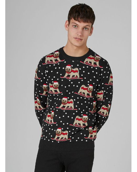Topman Charcoal Gray Skiing Pug Sweater in Gray for Men | Lyst