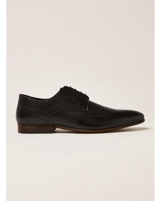 Topman - Black Leather Rocky Brogue for Men - Lyst