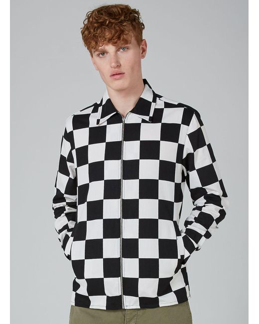 Topman black and white check shirt in black for men lyst for Black and white checker shirt