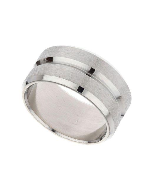 Topman - Metallic Ilver Ridge Band Ring for Men - Lyst
