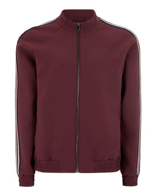 Topman | Red Burgundy Side Stripe Zip Up Jacket for Men | Lyst