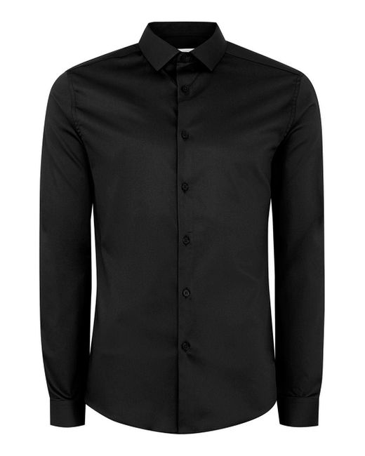 Topman - Black Satin Muscle Fit Long Sleeve Shirt for Men - Lyst