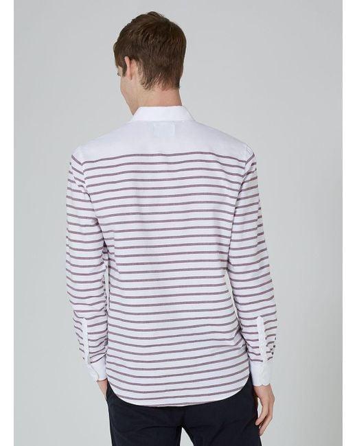 Lyst topman white and burgundy stripe button down shirt for Red and white button down shirt