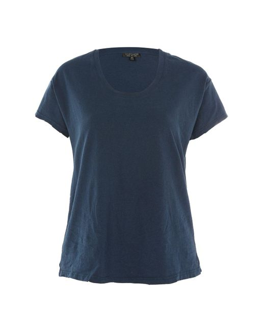 TOPSHOP | Blue Washed Scoop Neck T-shirt | Lyst