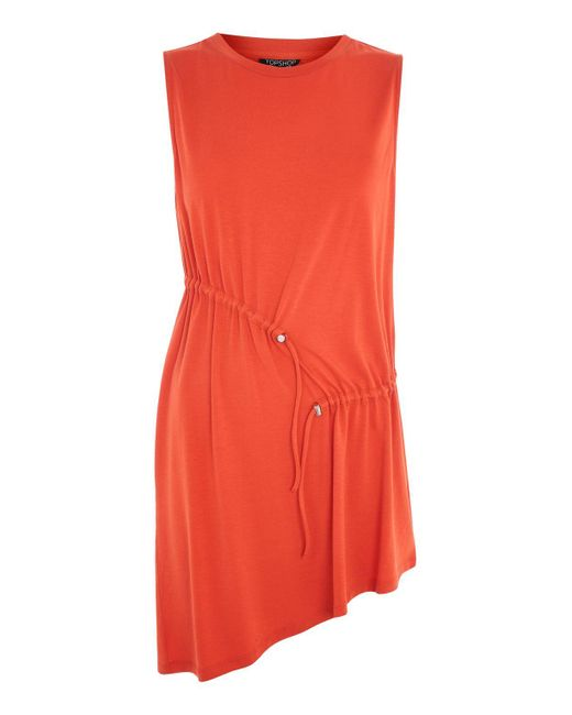 TOPSHOP   Red Sleeveless Ruched Tunic   Lyst
