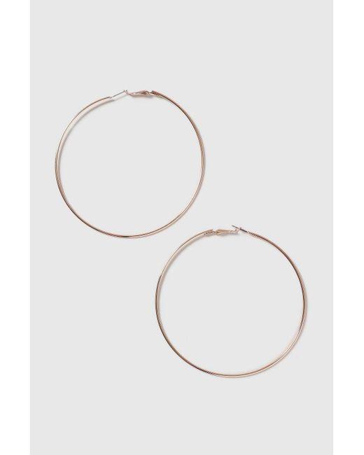 TOPSHOP - Metallic Rose Gold Large Hoop Earrings - Lyst