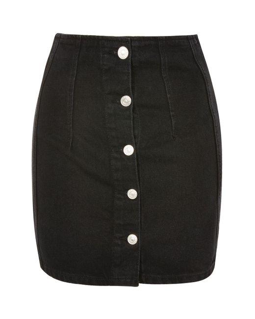 TOPSHOP | Black Moto Button Front Denim Mini Skirt | Lyst