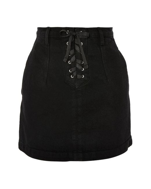 TOPSHOP | Black Moto Lace Up A-line Denim Mini Skirt | Lyst