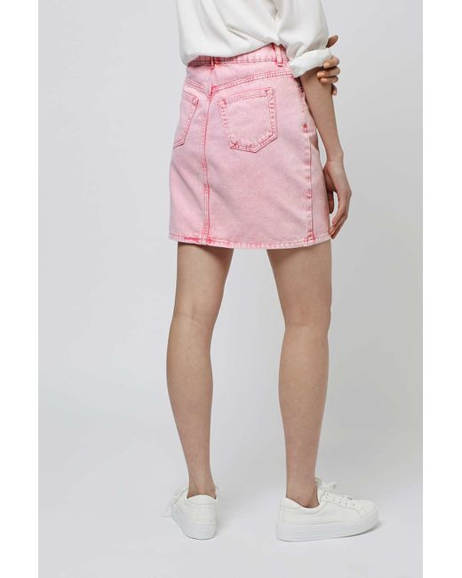 topshop moto high waisted skirt in pink lyst