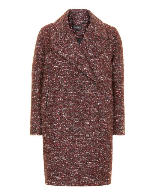 TOPSHOP | Red Double Breasted Cocoon Coat | Lyst