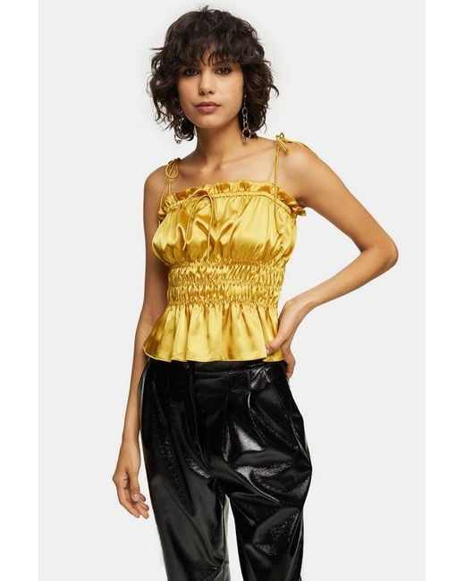 TOPSHOP Multicolor Ochre Ruched Satin Cami
