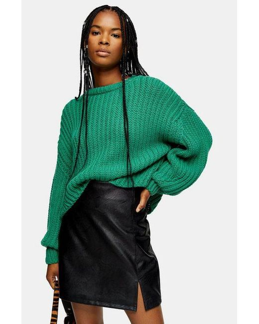 TOPSHOP Green Knitted Cropped Sweater With Wool