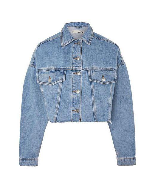 b5859c42ba9 ... TOPSHOP - Blue Hacked Off Crop Denim Jacket - Lyst