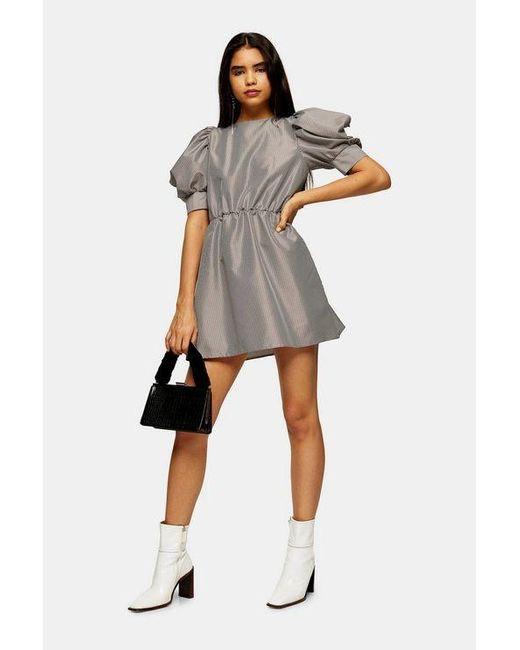 TOPSHOP Multicolor Black And White Check Taffeta Mini Dress