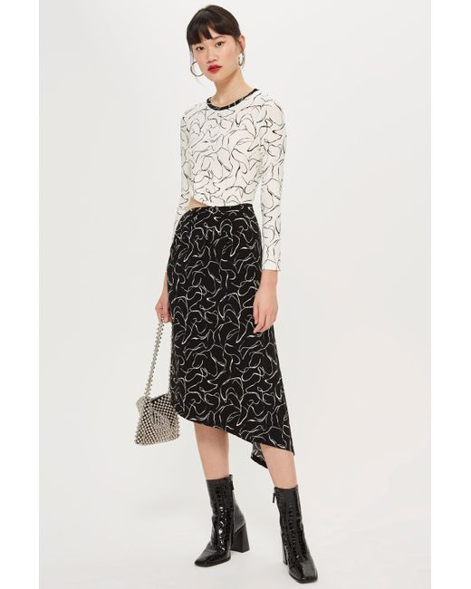 662ac9dcbe ... TOPSHOP - Black Scribble Mix And Match Dress - Lyst ...