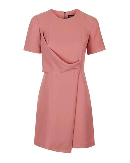 TOPSHOP | Pink Drape Shift Dress | Lyst