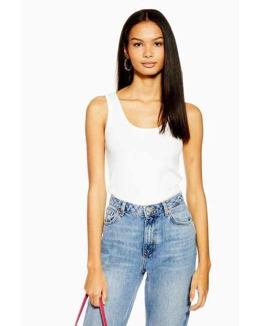 TOPSHOP White Tall Ribbed Racer Tank