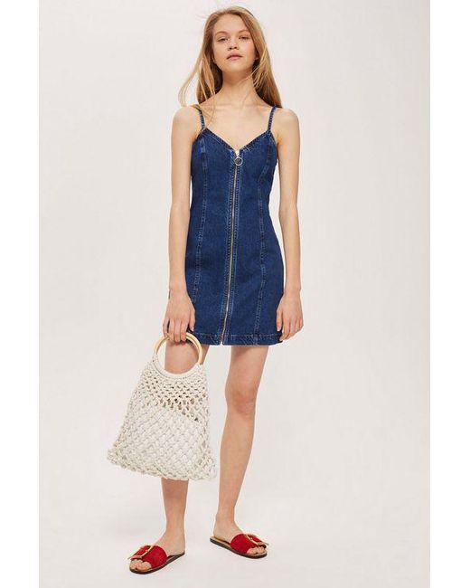TOPSHOP - Blue Zip Denim Dress - Lyst