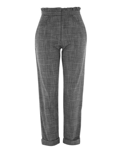 TOPSHOP | Gray Ruffle Check Mensy Trousers | Lyst