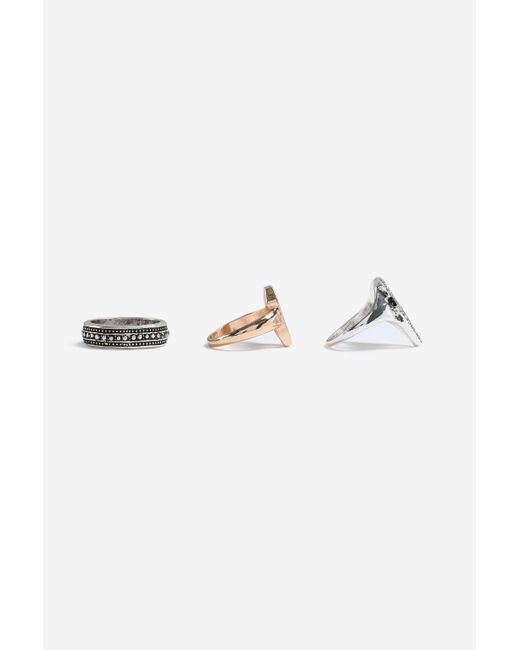 TOPSHOP - Metallic snake 3 Pack Ring Set - Lyst