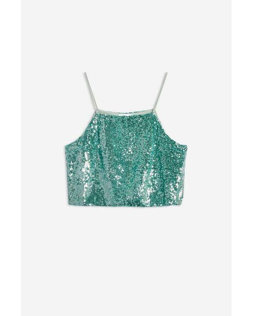 163e88f918d824 ... TOPSHOP - Green Sequin Crop Camisole - Lyst