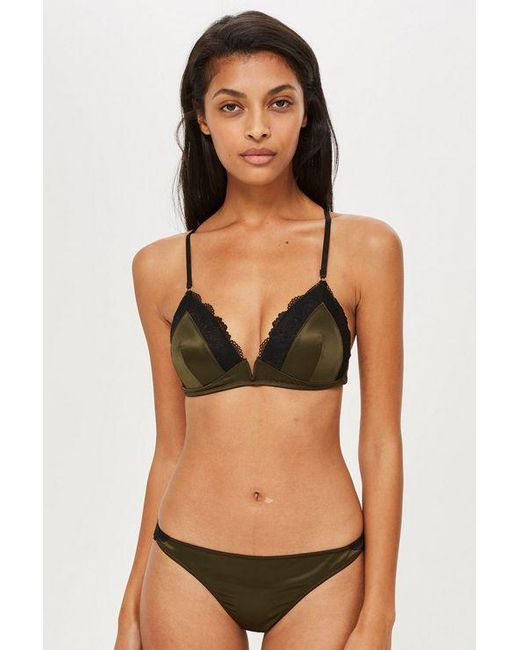 1072db5e29 TOPSHOP - Black Satin Padded Triangle Bra - Lyst ...