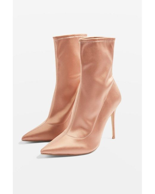 TOPSHOP - Natural Margarita Stretch Boot Heels - Lyst
