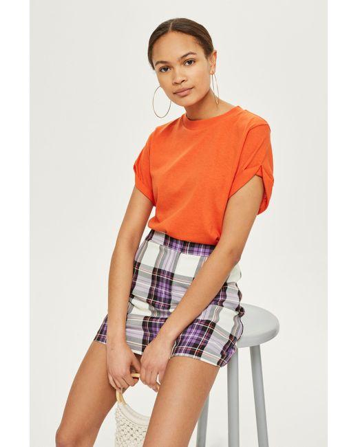 TOPSHOP - Orange Roll Sleeve T-shirt - Lyst