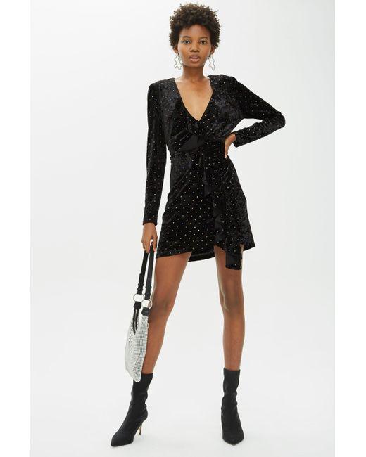 7668e773e397f TOPSHOP Stud Velvet Frill Dress in Black - Save 88% - Lyst
