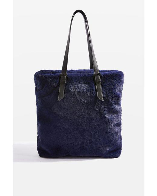TOPSHOP | Blue Freddy Faux Fur Shopper Bag | Lyst