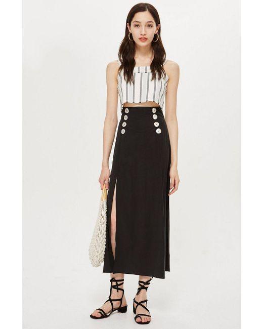 TOPSHOP - Black Button Splice Midi Skirt - Lyst