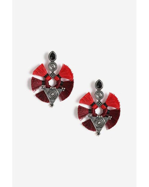 TOPSHOP - Red Shape And Tassel Drop Earrings - Lyst