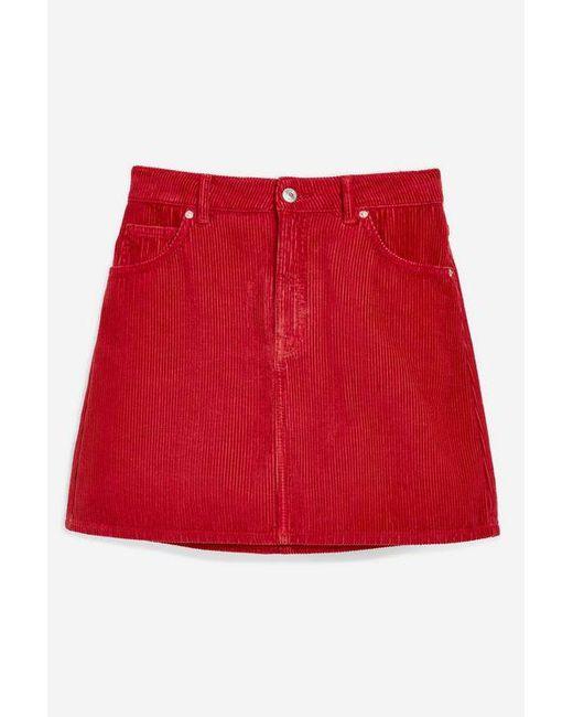 f2e9f8842b69 ... TOPSHOP - Black Tall Red Corduroy Skirt - Lyst