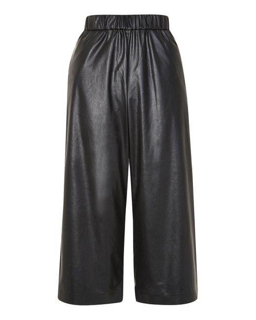 TOPSHOP   Black Petite Pu Wide Leg Trousers   Lyst
