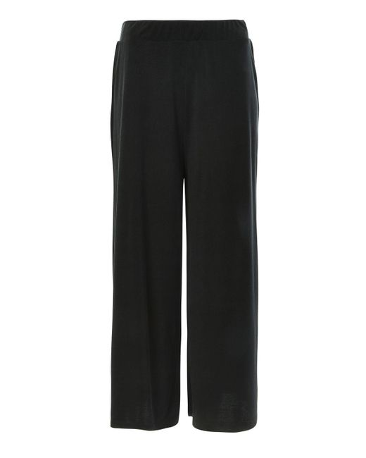 TOPSHOP   Black Petite Ribbed Awkward Wide Leg Trousers   Lyst