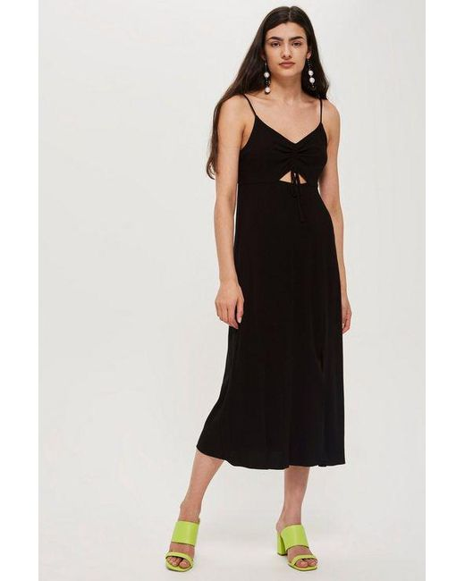 883ce0dde872 TOPSHOP - Black Petite Ruched Front Molly Midi Slip Dress - Lyst ...