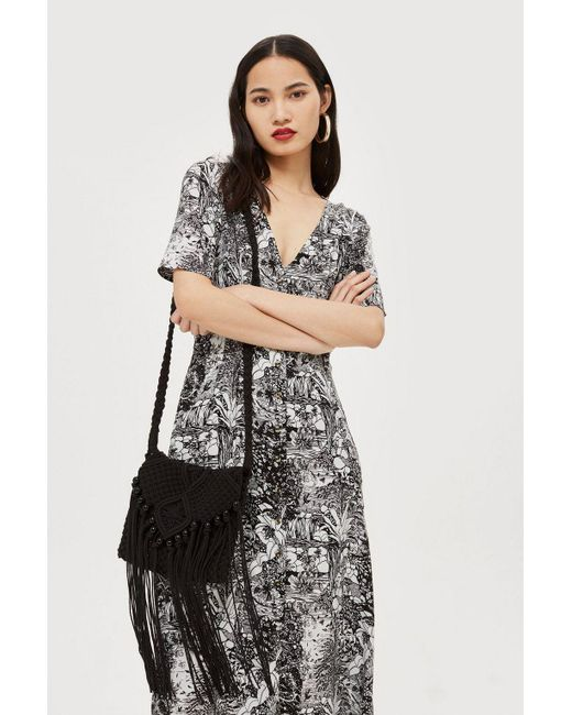 TOPSHOP - Multicolor Monochrome Midi Dress - Lyst