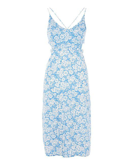 TOPSHOP | Blue Cornflower Print Cut Out Slip Dress | Lyst