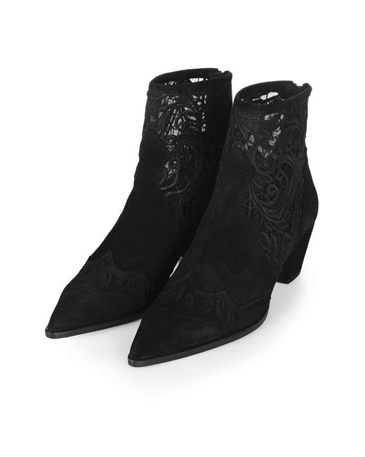 topshop alegra lace ankle boots in black lyst