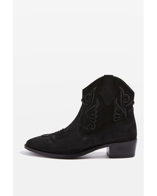 TOPSHOP | Black Apple Western Boots | Lyst