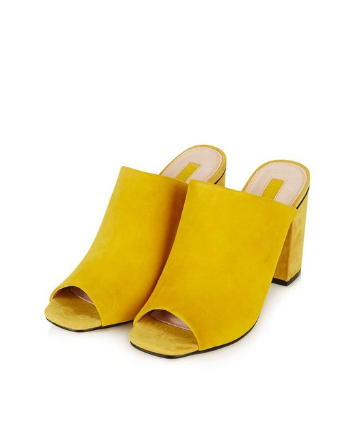 Topshop Rule Suede Mules In Yellow Mustard Lyst