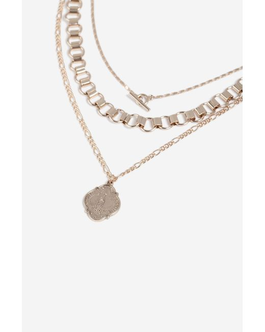 TOPSHOP - Metallic coin T-bar Multi Row Necklace - Lyst