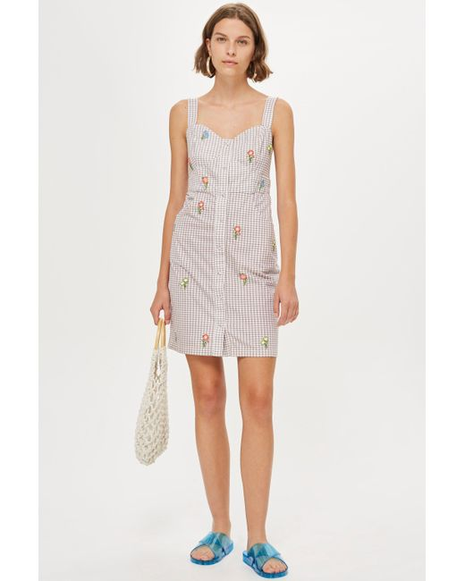 TOPSHOP - Multicolor Gingham Embroidered Pinafore Dress - Lyst